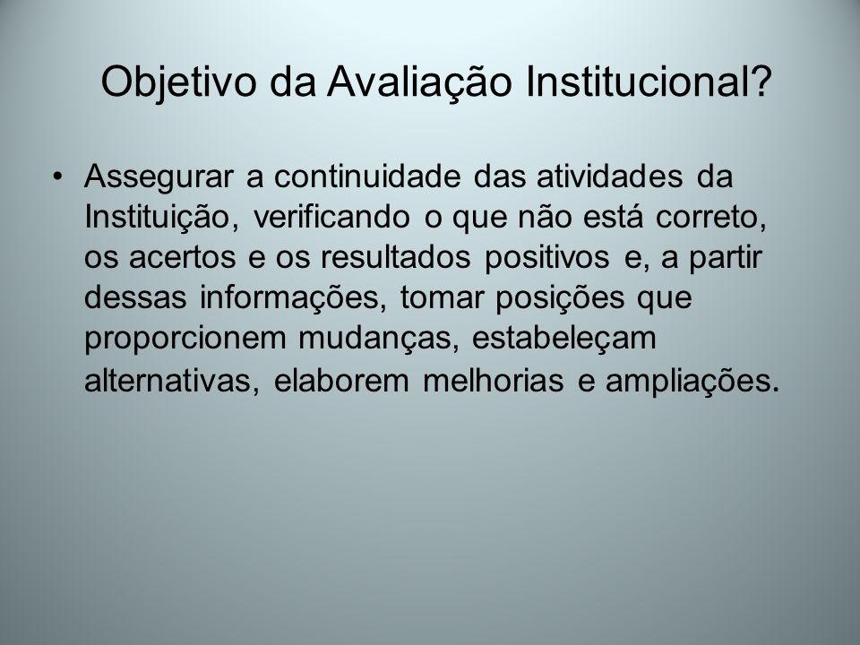Objetivo da Avaliação Institucional? Assegurar a continuidade das atividades da Instituição, verificando o que não está correto, os acertos e os resul