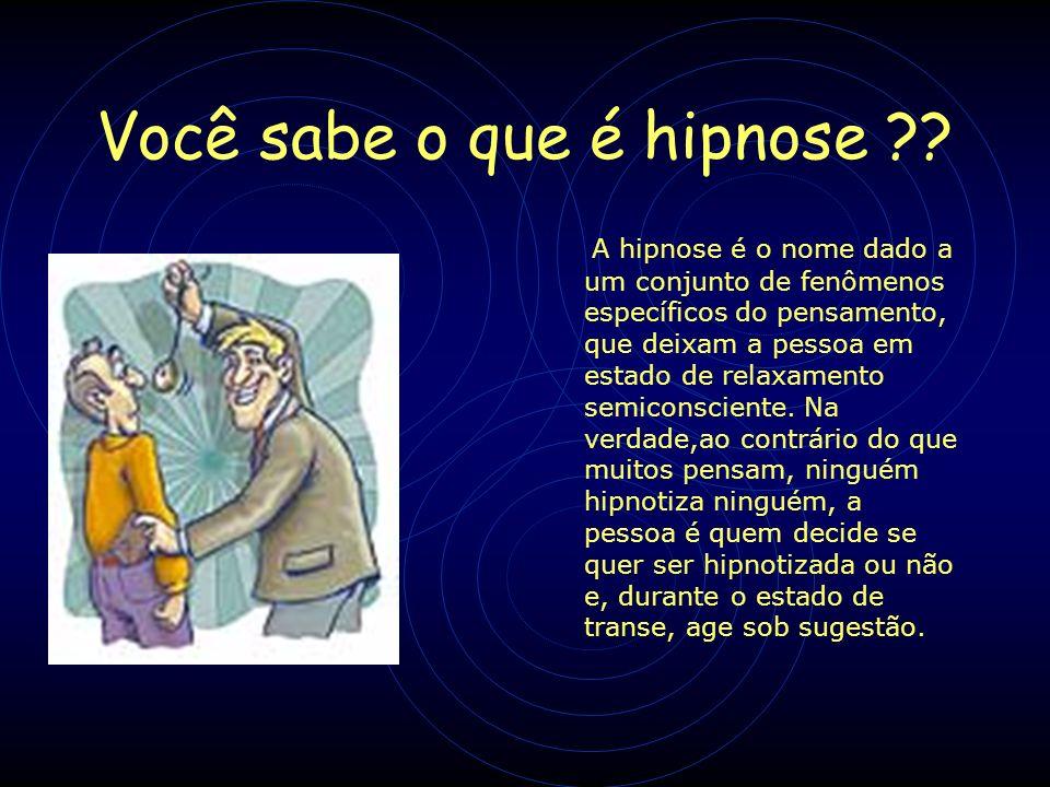 Na hipnose ocorre: Inibição da consciência periférica Dissociação Susgestionabilidade Hiperaminésia Subjetividade