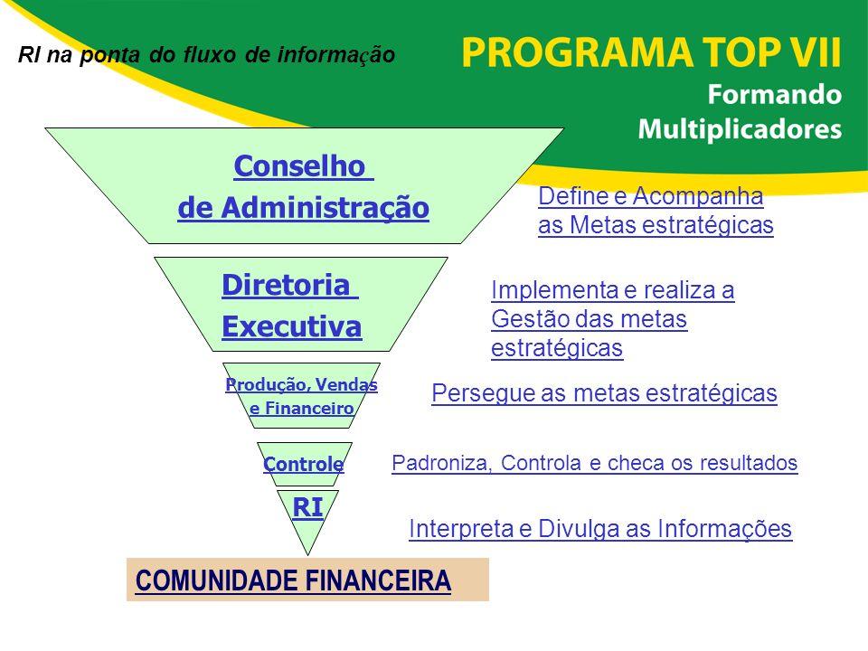 Conselho de Administração Define e Acompanha as Metas estratégicas Implementa e realiza a Gestão das metas estratégicas Diretoria Executiva Produção,