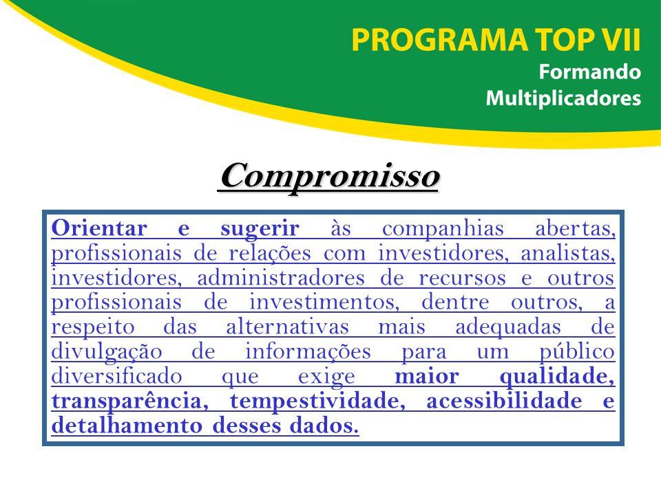 Compromisso Orientar e sugerir às companhias abertas, profissionais de relações com investidores, analistas, investidores, administradores de recursos
