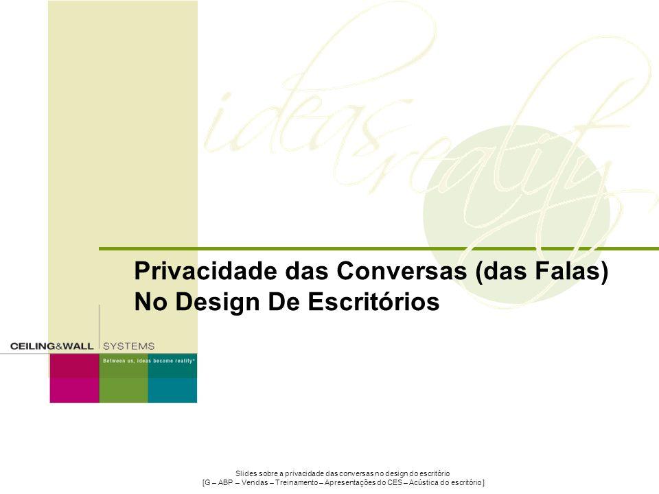 Slides sobre a privacidade das conversas no design do escritório [G – ABP – Vendas – Treinamento – Apresentações do CES – Acústica do escritório ] Pri