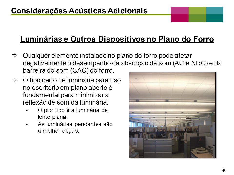 – 40 – 40 Luminárias e Outros Dispositivos no Plano do Forro Considerações Acústicas Adicionais Qualquer elemento instalado no plano do forro pode afe