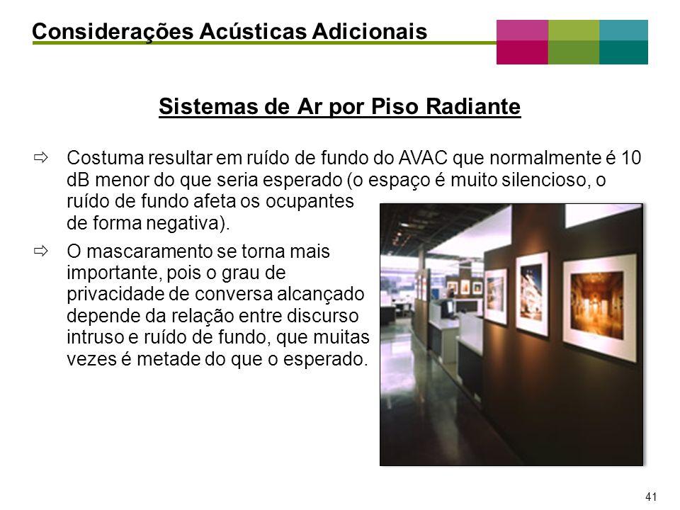 – 41 – 41 Sistemas de Ar por Piso Radiante Considerações Acústicas Adicionais Costuma resultar em ruído de fundo do AVAC que normalmente é 10 dB menor