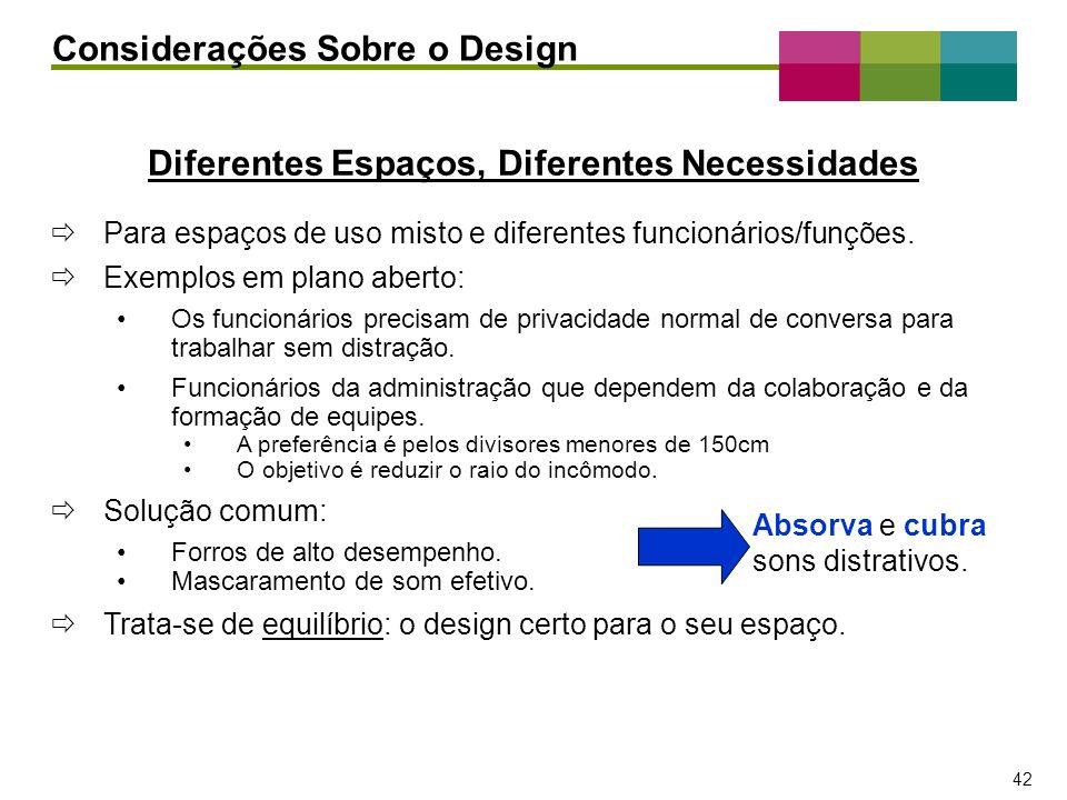– 42 – 42 Diferentes Espaços, Diferentes Necessidades Para espaços de uso misto e diferentes funcionários/funções. Exemplos em plano aberto: Os funcio