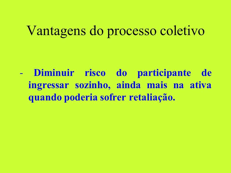 Vantagens do processo coletivo - Diminuir risco do participante de ingressar sozinho, ainda mais na ativa quando poderia sofrer retaliação.