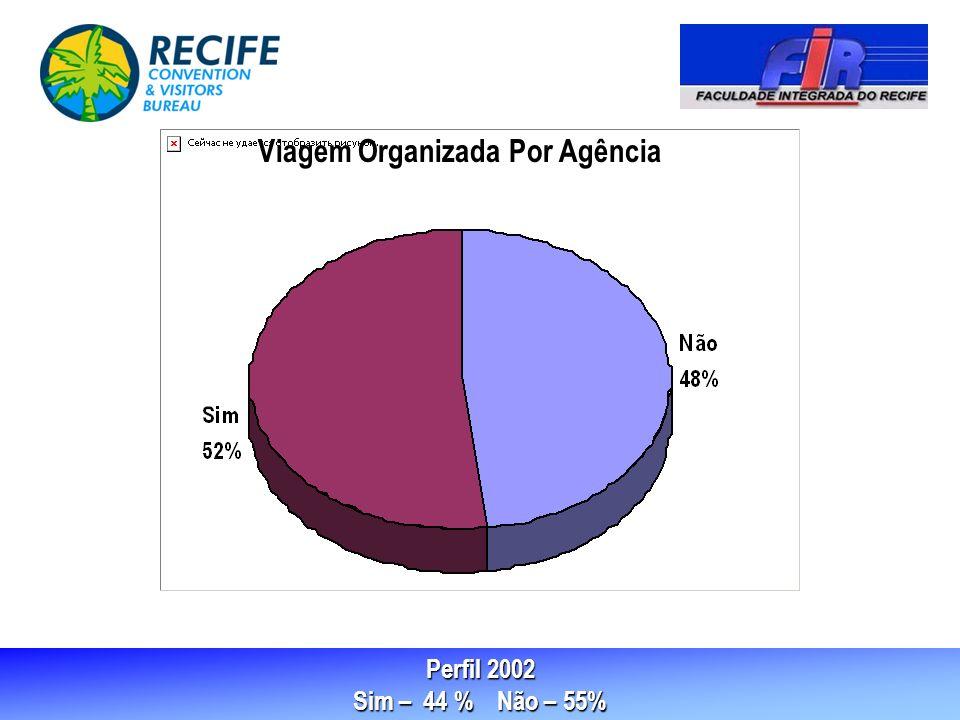 Perfil 2002 Sim – 44 % Não – 55% Viagem Organizada Por Agência