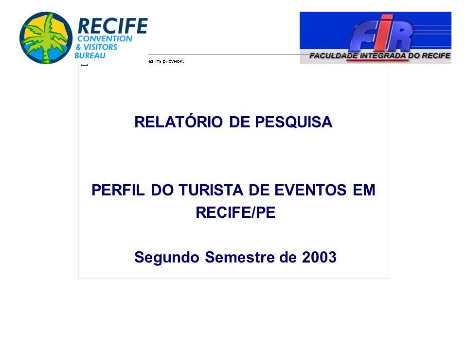 COORDENAÇÃO DE PESQUISA E PÓS-GRADUAÇÃO - COPESQ Recife – Março/2004 RELATÓRIO DE PESQUISA PERFIL DO TURISTA DE EVENTOS EM RECIFE/PE Segundo Semestre
