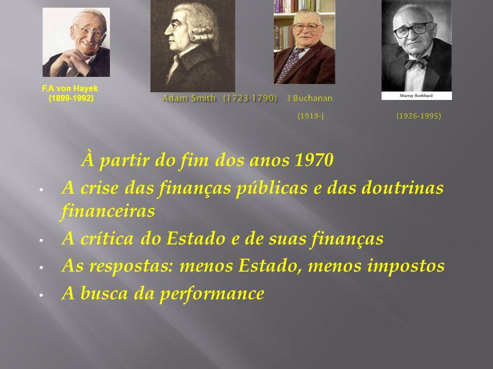 À partir do fim dos anos 1970 A crise das finanças públicas e das doutrinas financeiras A crítica do Estado e de suas finanças As respostas: menos Est