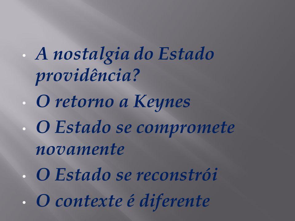 A nostalgia do Estado providência? O retorno a Keynes O Estado se compromete novamente O Estado se reconstrói O contexte é diferente