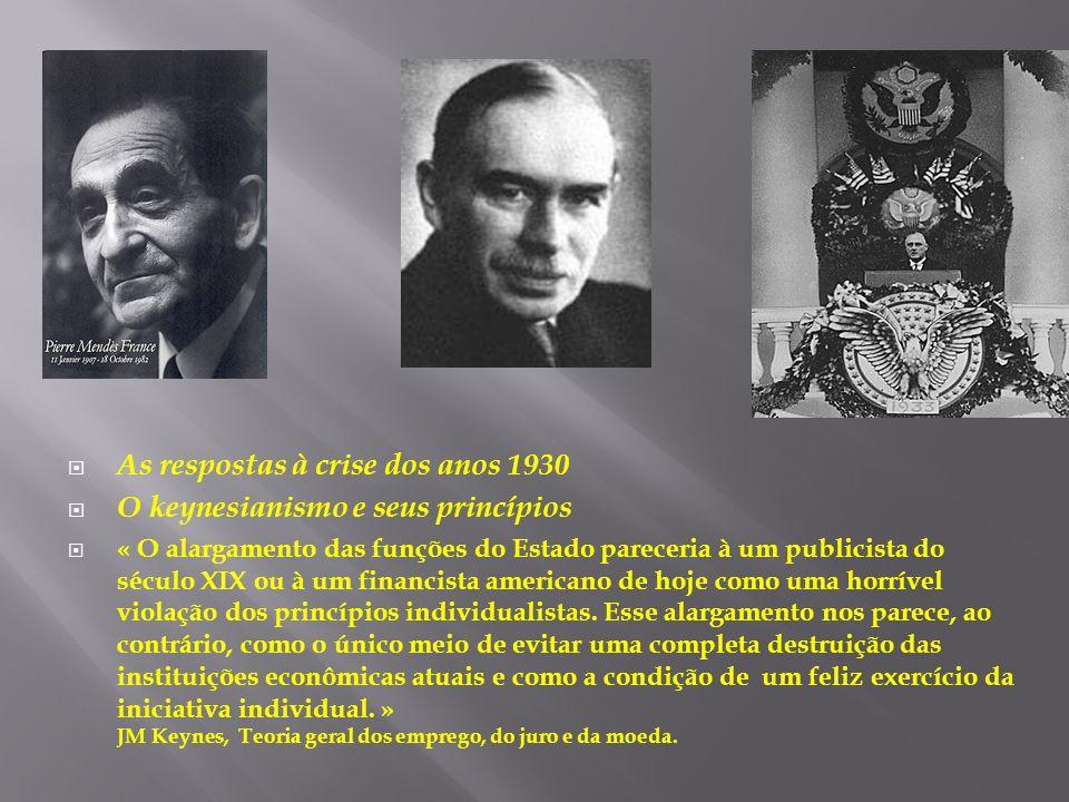 As respostas à crise dos anos 1930 O keynesianismo e seus princípios « O alargamento das funções do Estado pareceria à um publicista do século XIX ou