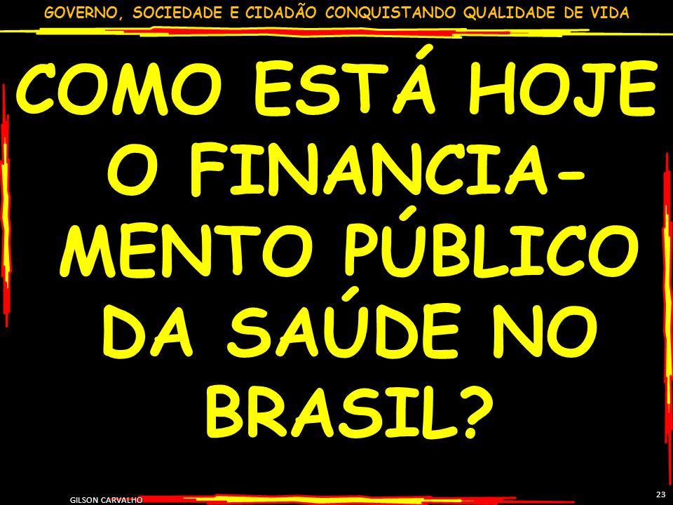 GOVERNO, SOCIEDADE E CIDADÃO CONQUISTANDO QUALIDADE DE VIDA GILSON CARVALHO 23 COMO ESTÁ HOJE O FINANCIA- MENTO PÚBLICO DA SAÚDE NO BRASIL?