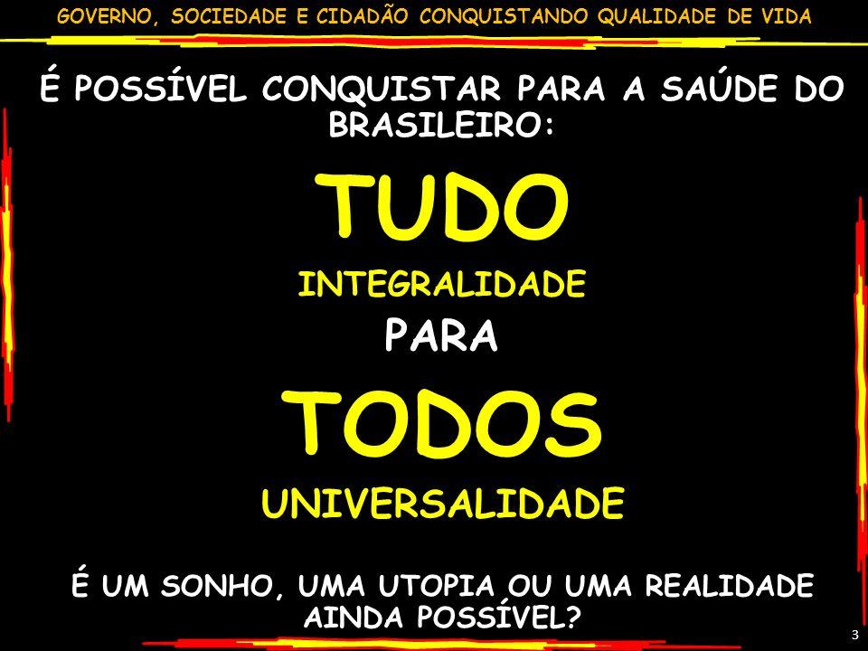 GOVERNO, SOCIEDADE E CIDADÃO CONQUISTANDO QUALIDADE DE VIDA 3 É POSSÍVEL CONQUISTAR PARA A SAÚDE DO BRASILEIRO: TUDO INTEGRALIDADE PARA TODOS UNIVERSA