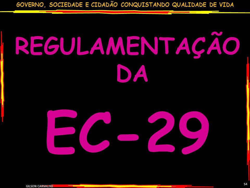 GOVERNO, SOCIEDADE E CIDADÃO CONQUISTANDO QUALIDADE DE VIDA GILSON CARVALHO 54 REGULAMENTAÇÃO DA EC-29