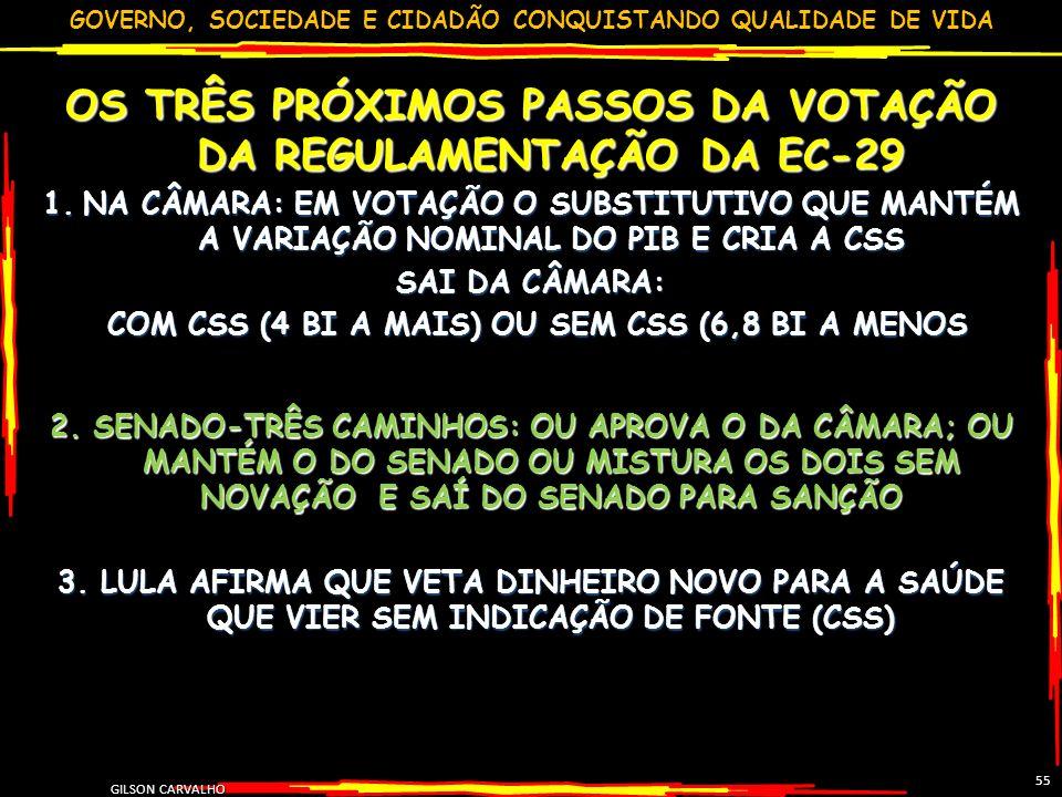 GOVERNO, SOCIEDADE E CIDADÃO CONQUISTANDO QUALIDADE DE VIDA OS TRÊS PRÓXIMOS PASSOS DA VOTAÇÃO DA REGULAMENTAÇÃO DA EC-29 1.NA CÂMARA: EM VOTAÇÃO O SU