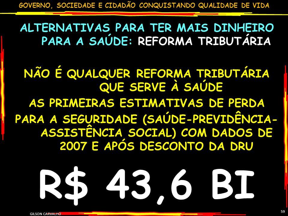 GOVERNO, SOCIEDADE E CIDADÃO CONQUISTANDO QUALIDADE DE VIDA GILSON CARVALHO 59 ALTERNATIVAS PARA TER MAIS DINHEIRO PARA A SAÚDE: REFORMA TRIBUTÁRIA NÃ