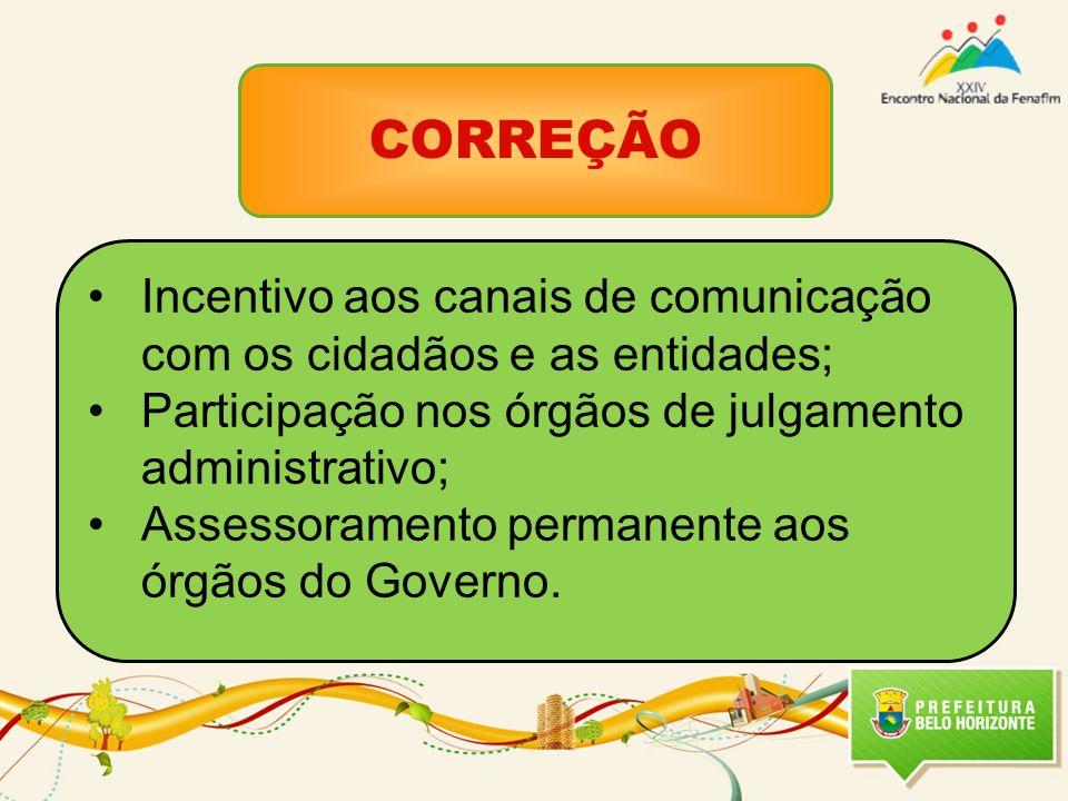 CORREÇÃO Incentivo aos canais de comunicação com os cidadãos e as entidades; Participação nos órgãos de julgamento administrativo; Assessoramento permanente aos órgãos do Governo.