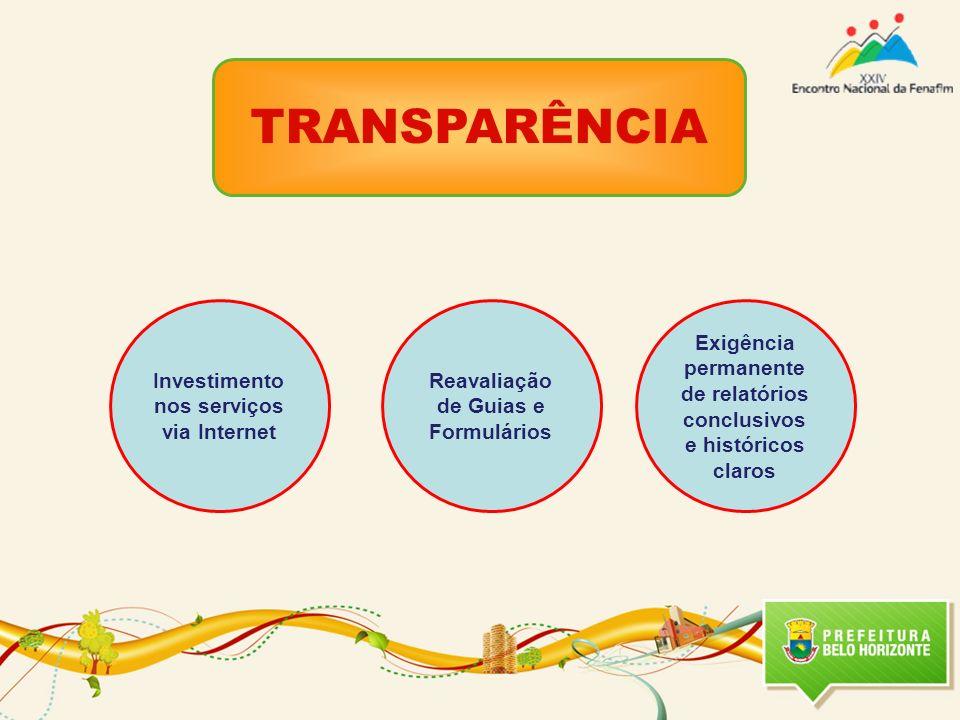 TRANSPARÊNCIA Investimento nos serviços via Internet Reavaliação de Guias e Formulários Exigência permanente de relatórios conclusivos e históricos claros