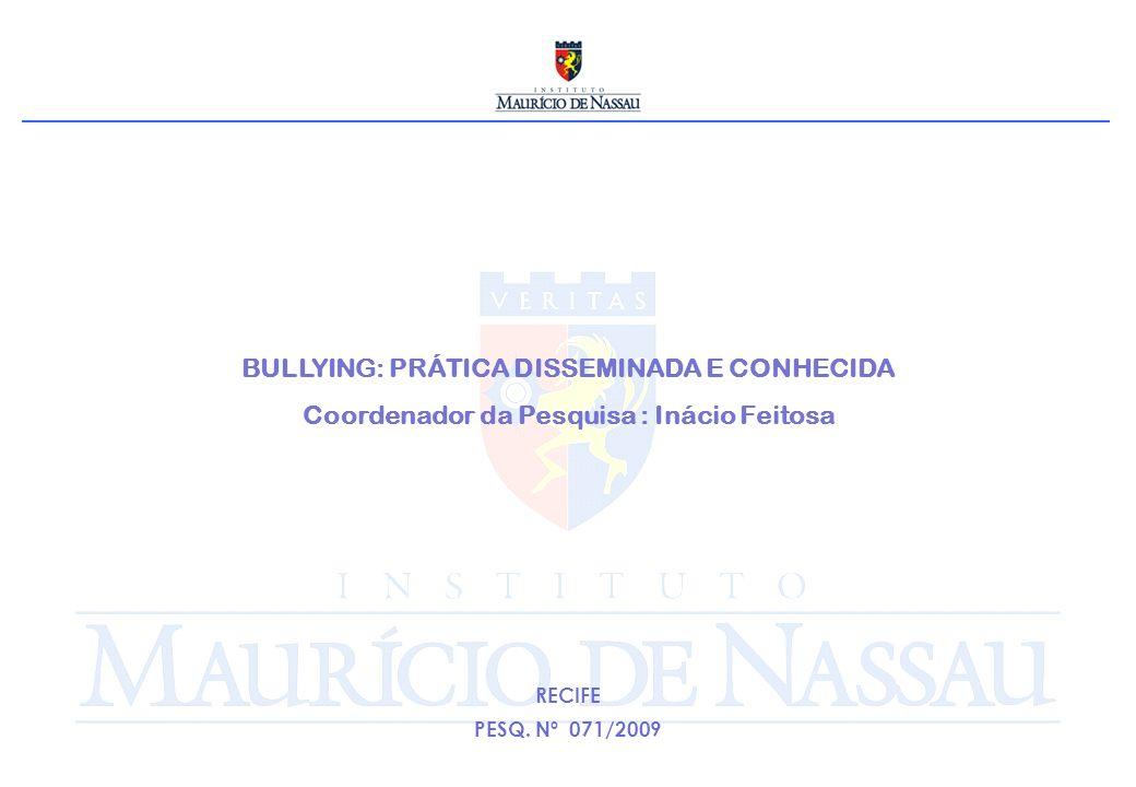 BULLYING: PRÁTICA DISSEMINADA E CONHECIDA Coordenador da Pesquisa : Inácio Feitosa RECIFE PESQ. Nº 071/2009