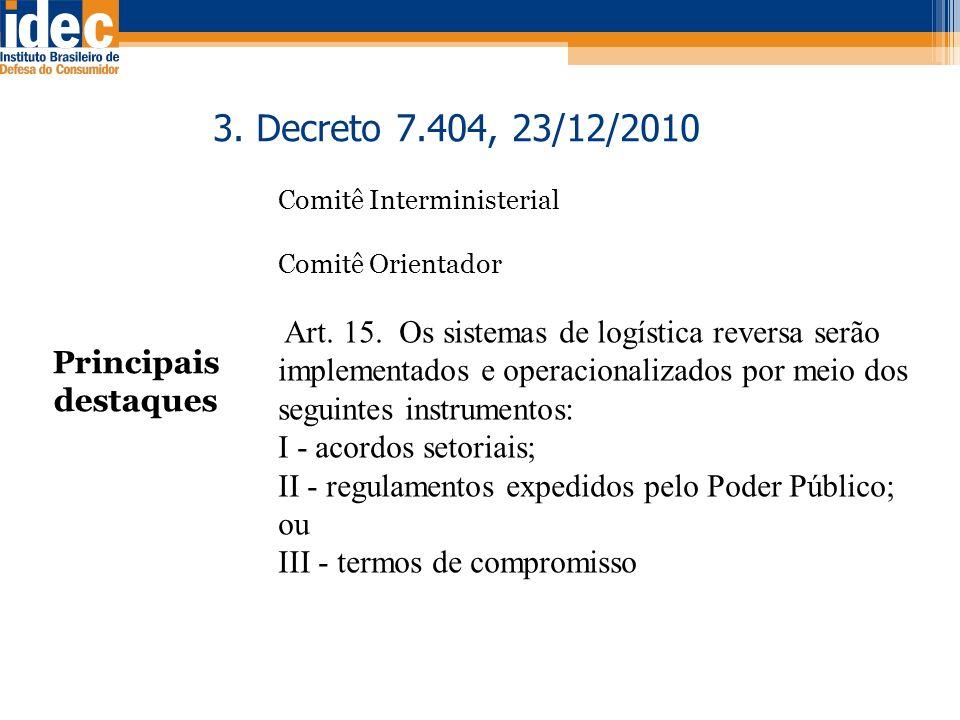 Principais destaques 3. Decreto 7.404, 23/12/2010 Comitê Interministerial Comitê Orientador Art. 15. Os sistemas de logística reversa serão implementa