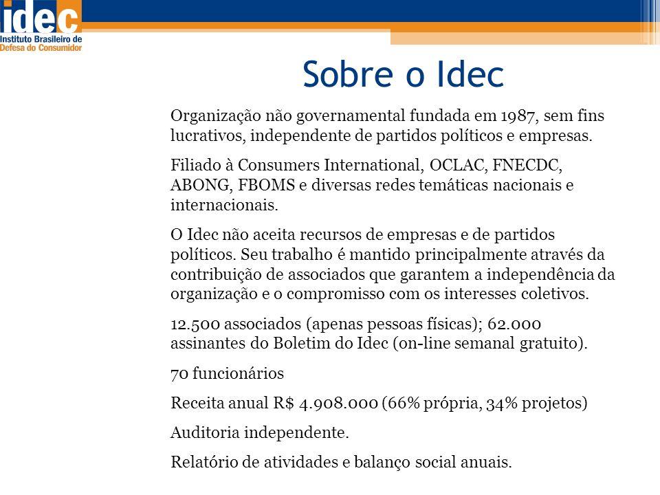 Sobre o Idec Organização não governamental fundada em 1987, sem fins lucrativos, independente de partidos políticos e empresas. Filiado à Consumers In