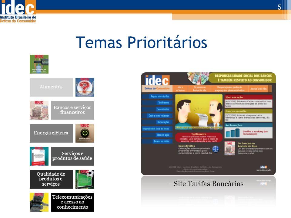 Temas Prioritários 5 Água e Saneamento Alimentos Bancos e serviços financeiros Energia elétrica Serviços e produtos de saúde Qualidade de produtos e s