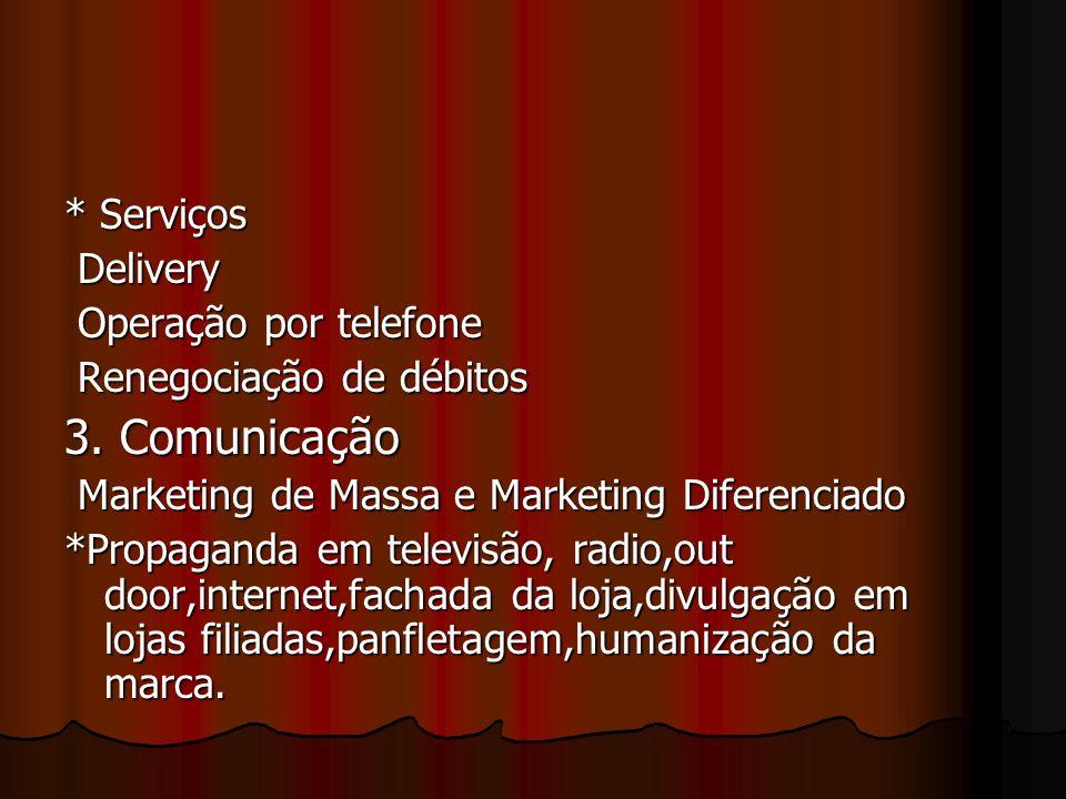 * Serviços Delivery Delivery Operação por telefone Operação por telefone Renegociação de débitos Renegociação de débitos 3. Comunicação Marketing de M
