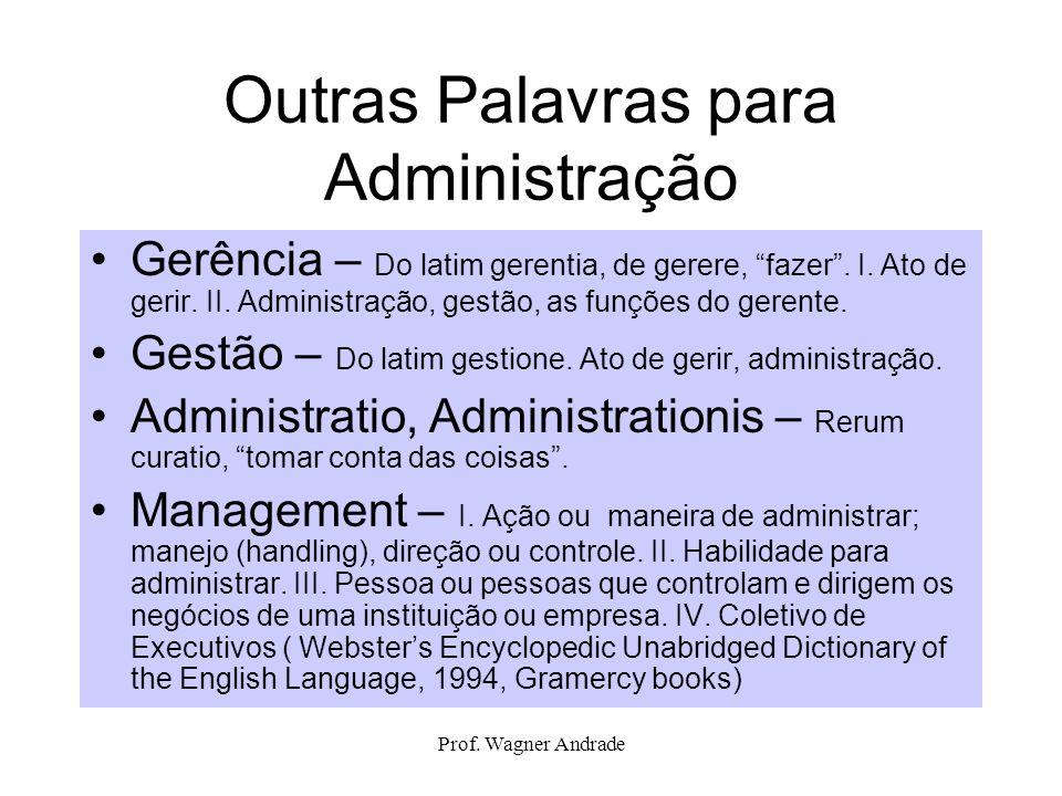 Prof. Wagner Andrade Outras Palavras para Administração Gerência – Do latim gerentia, de gerere, fazer. I. Ato de gerir. II. Administração, gestão, as