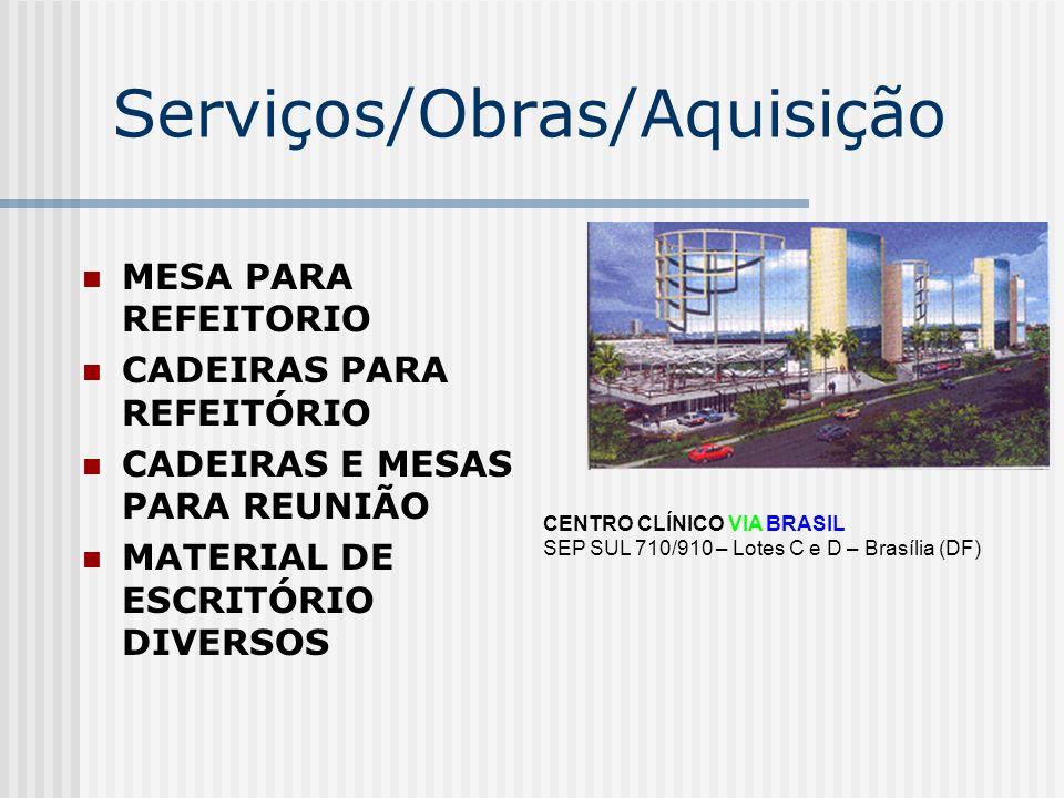 Serviços/Obras/Aquisição MEDICAMENTOS 1º SOCORROS LAMPADAS FRIAS SUBSTITUINDO ENCANDECENTES (ECONÔMICA) CAFEITEIRA PARA ADMINISTRAÇÃO FAX PARA ADMINISTRAÇÃO CENTRO CLÍNICO VIA BRASIL SEP SUL 710/910 – Lotes C e D – Brasília (DF)