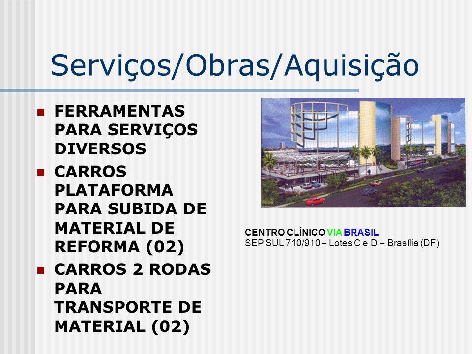 Serviços/Obras/Aquisição COMPRESSOR MAQUINA LAVA JATO CAPA DE ELEVADORES RECARGA DE EXTINTORES ÁREAS COMUM AQUISIÇÃO DE EXTINORES PARA ADMINISTRAÇÃO CENTRO CLÍNICO VIA BRASIL SEP SUL 710/910 – Lotes C e D – Brasília (DF)