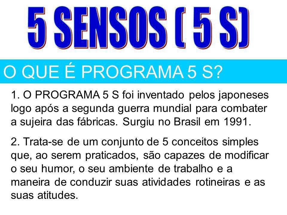 1º S SEIRI Senso de Utilização Senso de arrumação, organização e seleção.