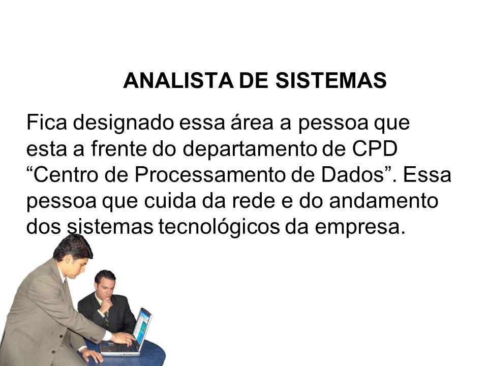 ANALISTA DE SISTEMAS Fica designado essa área a pessoa que esta a frente do departamento de CPD Centro de Processamento de Dados.