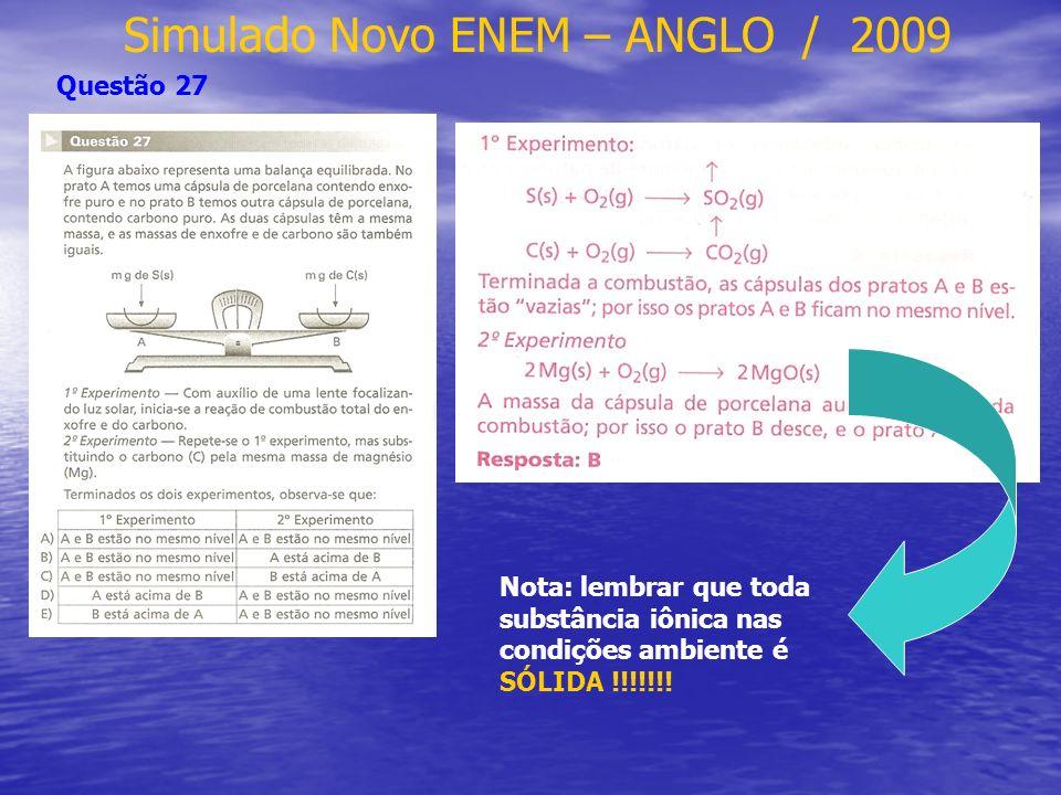 Simulado Novo ENEM – ANGLO / 2009 Questão 30 I - 3 H 2 + CO CH 4 + H 2 O II - 8 mol 100% (antes) 6 mol 75% (depois) III - nP