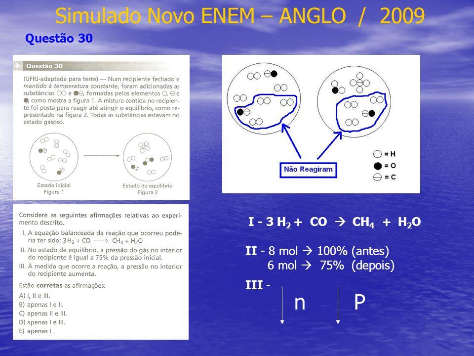 Simulado Novo ENEM – ANGLO / 2009 Questão 32 Na 2 S Na 2 CO 3 H 2 SO 4 BaCl 2 HCl * * * H 2 CO 3 H 2 O + CO 2