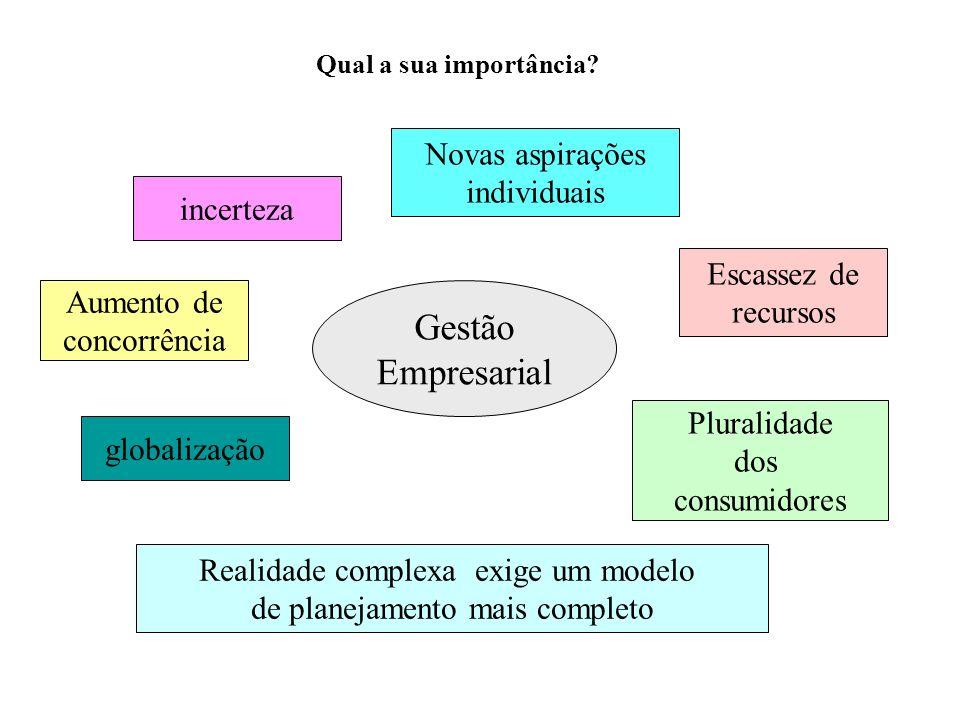 Gestão Empresarial incerteza Aumento de concorrência globalização Pluralidade dos consumidores Escassez de recursos Novas aspirações individuais Reali