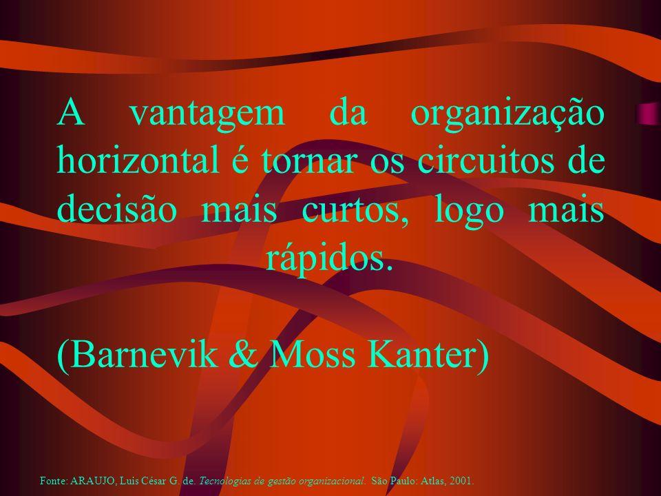A vantagem da organização horizontal é tornar os circuitos de decisão mais curtos, logo mais rápidos. (Barnevik & Moss Kanter) Fonte: ARAUJO, Luis Cés