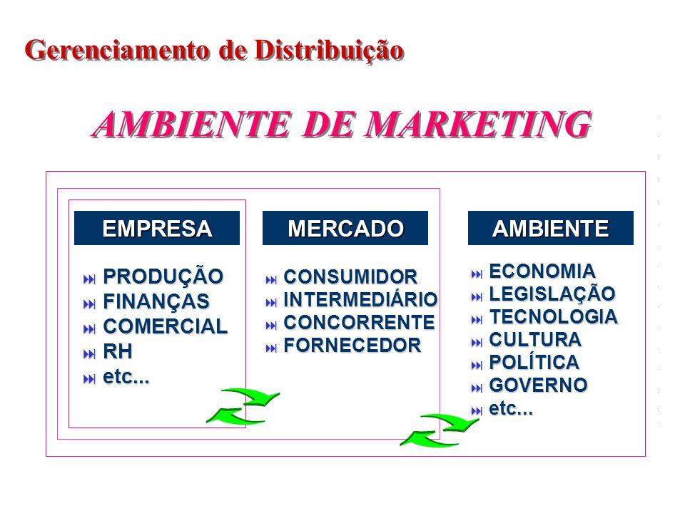 Gerenciamento de Distribuição AMBIENTE DE MARKETING EMPRESAMERCADOAMBIENTE PRODUÇÃO PRODUÇÃO FINANÇAS FINANÇAS COMERCIAL COMERCIAL RH RH etc... etc...