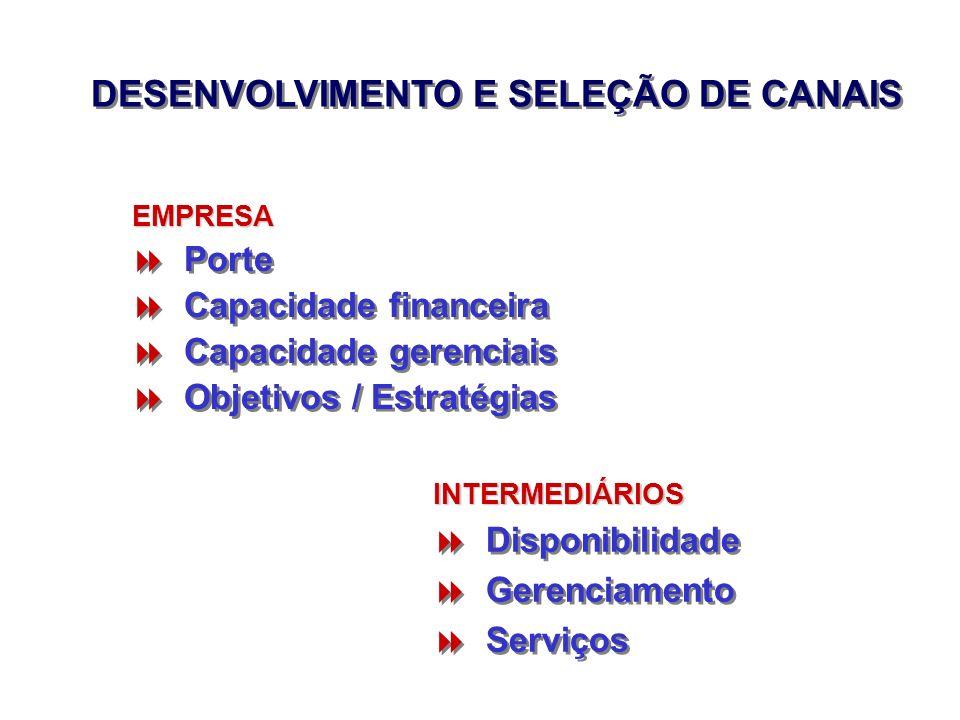DESENVOLVIMENTO E SELEÇÃO DE CANAIS Porte Capacidade financeira Capacidade gerenciais Objetivos / Estratégias Porte Capacidade financeira Capacidade g