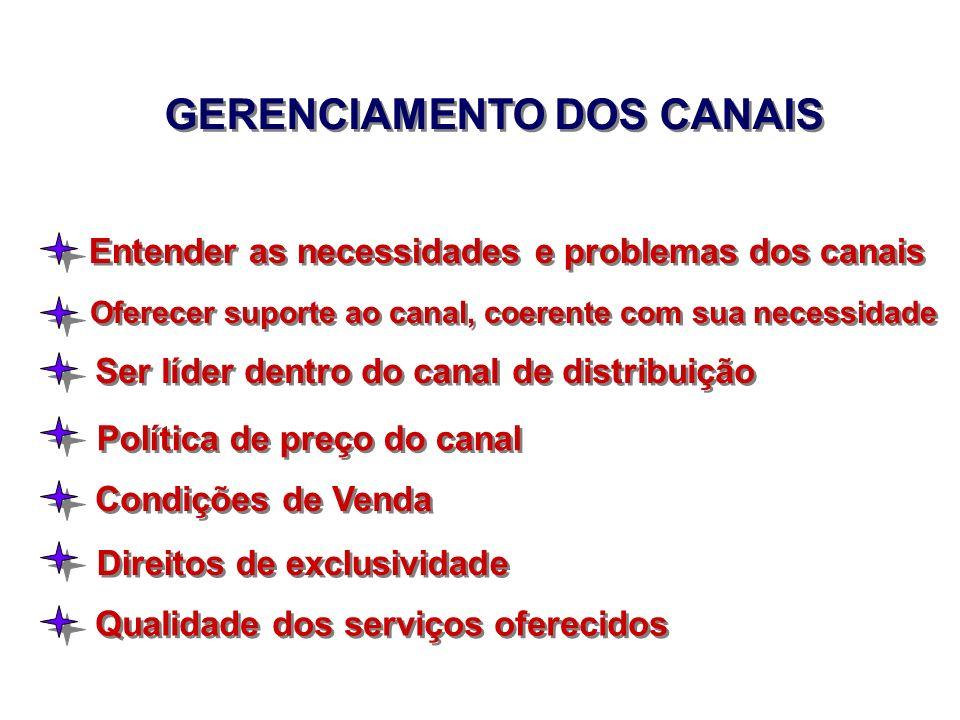 GERENCIAMENTO DOS CANAIS Entender as necessidades e problemas dos canais Oferecer suporte ao canal, coerente com sua necessidade Ser líder dentro do c