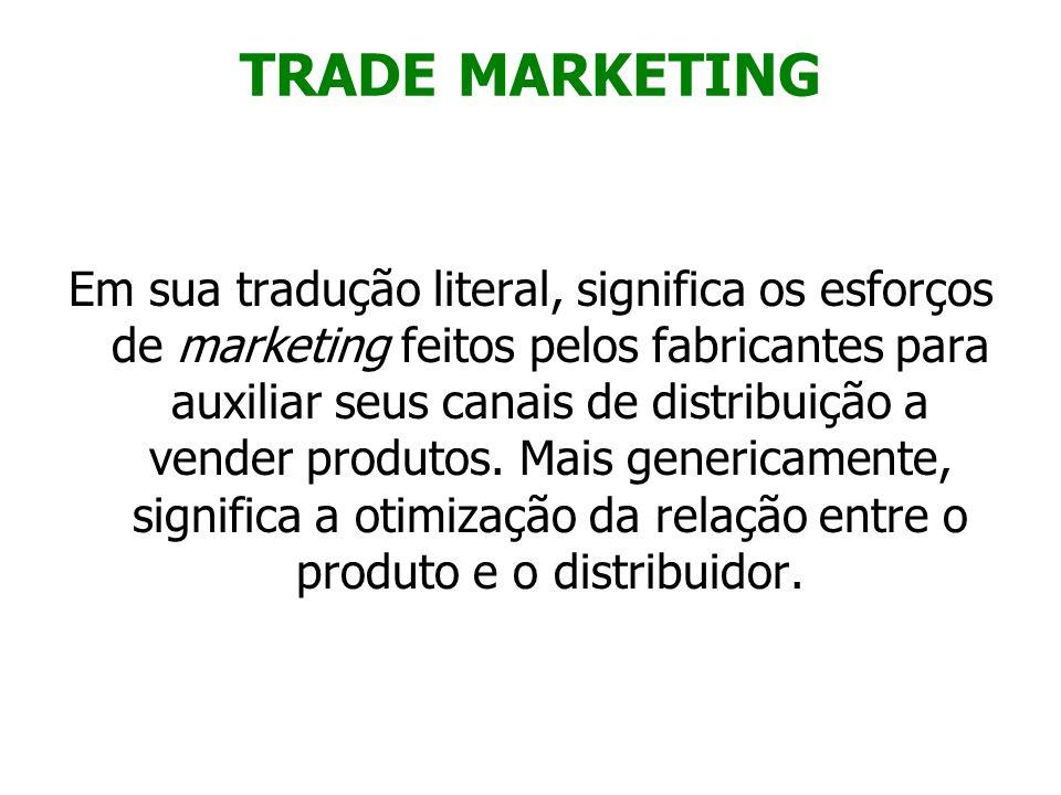 TRADE MARKETING Em sua tradução literal, significa os esforços de marketing feitos pelos fabricantes para auxiliar seus canais de distribuição a vende