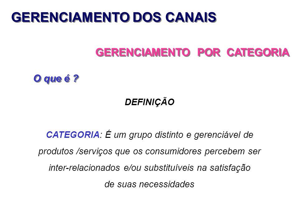 GERENCIAMENTO DOS CANAIS GERENCIAMENTO POR CATEGORIA O que é ? DEFINIÇÃO CATEGORIA: É um grupo distinto e gerenciável de produtos /serviços que os con