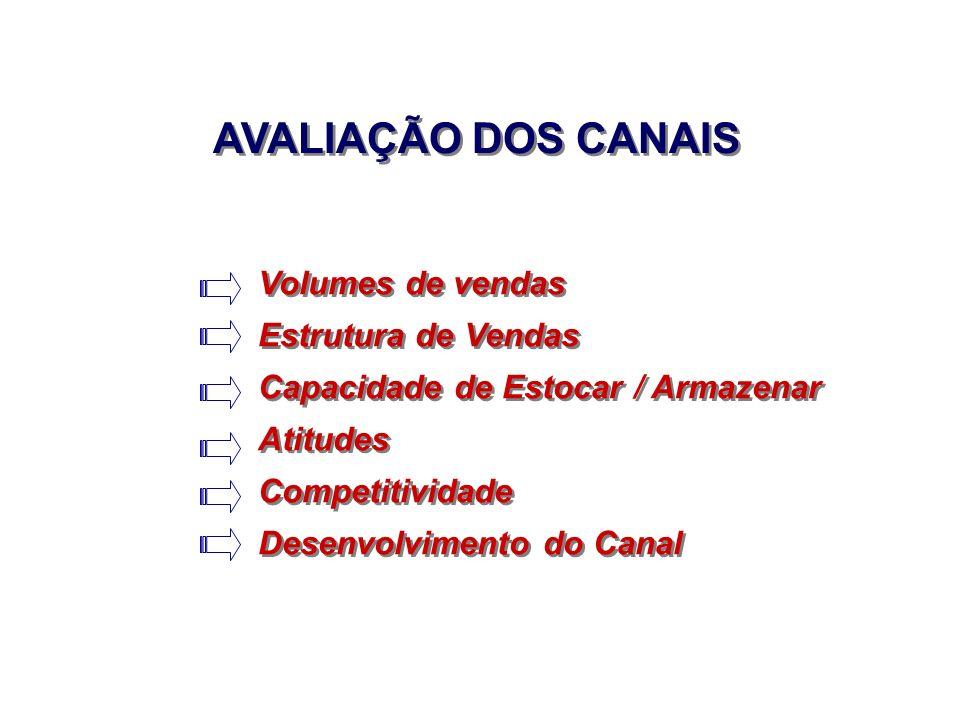 AVALIAÇÃO DOS CANAIS Volumes de vendas Estrutura de Vendas Capacidade de Estocar / Armazenar Atitudes Competitividade Desenvolvimento do Canal Volumes