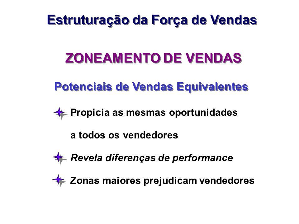 ZONEAMENTO DE VENDAS Potenciais de Vendas Equivalentes Propicia as mesmas oportunidades a todos os vendedores Revela diferenças de performance Zonas m