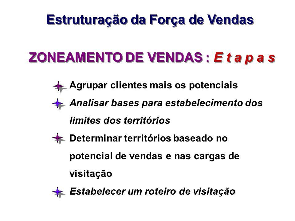 ZONEAMENTO DE VENDAS : E t a p a s Agrupar clientes mais os potenciais Analisar bases para estabelecimento dos limites dos territórios Determinar terr