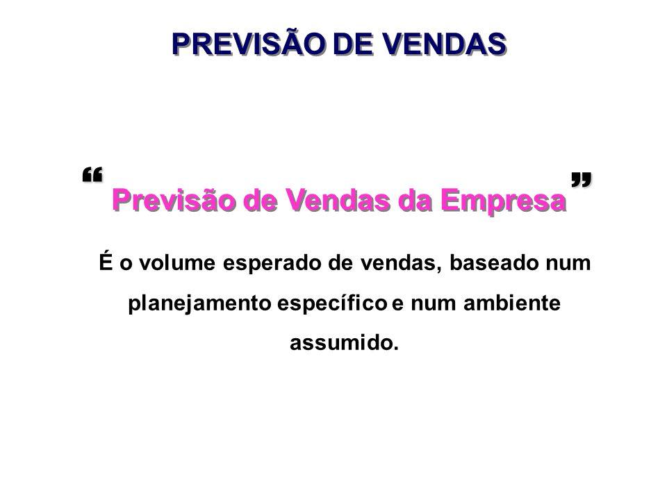 Previsão de Vendas da Empresa É o volume esperado de vendas, baseado num planejamento específico e num ambiente assumido. PREVISÃO DE VENDAS