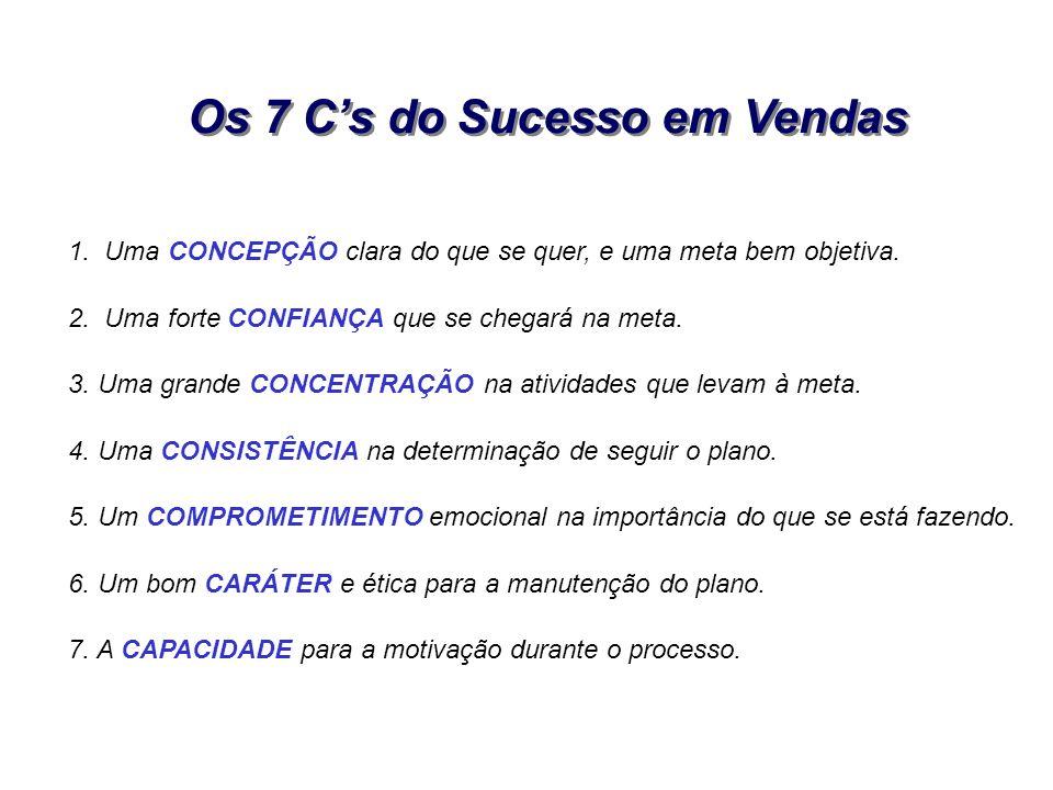 Os 7 Cs do Sucesso em Vendas 1. Uma CONCEPÇÃO clara do que se quer, e uma meta bem objetiva. 2. Uma forte CONFIANÇA que se chegará na meta. 3. Uma gra