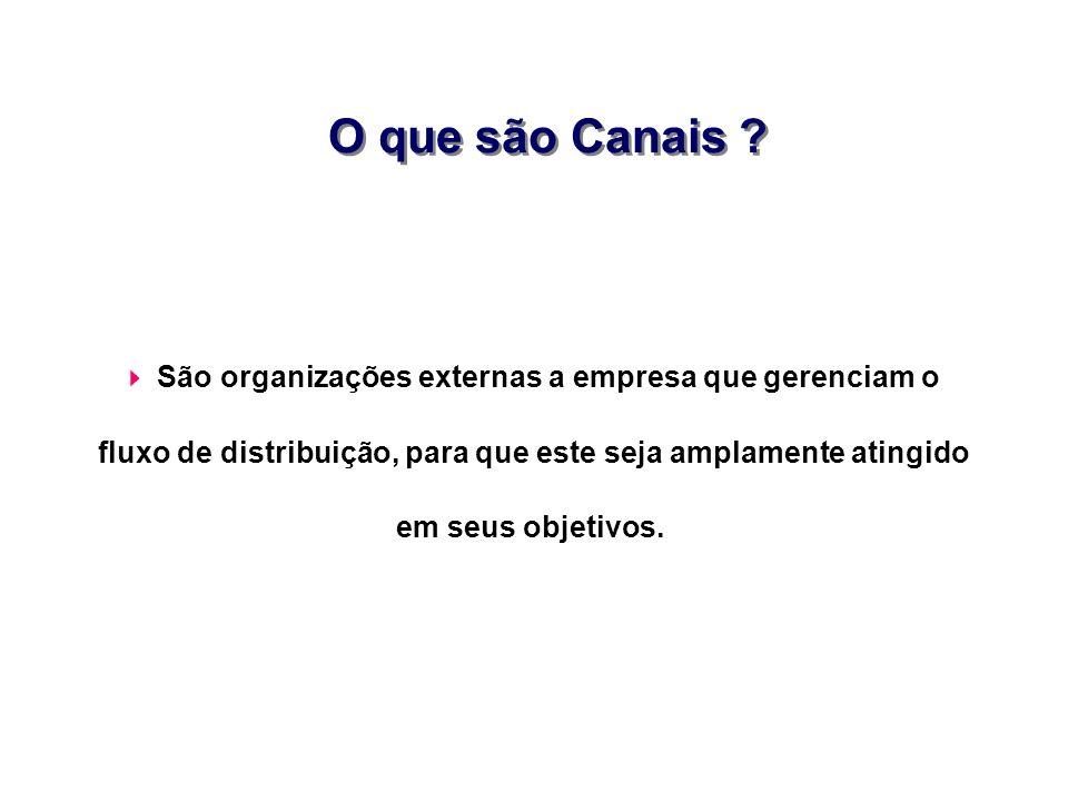 O que são Canais ? São organizações externas a empresa que gerenciam o fluxo de distribuição, para que este seja amplamente atingido em seus objetivos