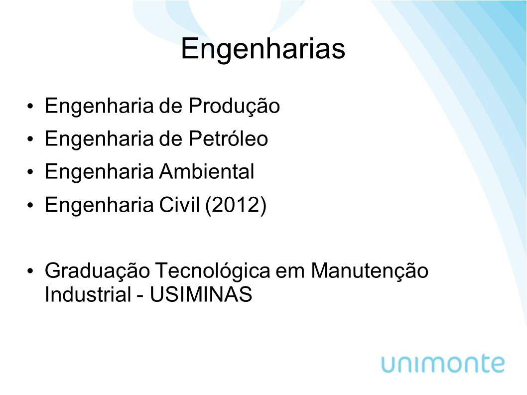 Engenharias Engenharia de Produção Engenharia de Petróleo Engenharia Ambiental Engenharia Civil (2012) Graduação Tecnológica em Manutenção Industrial