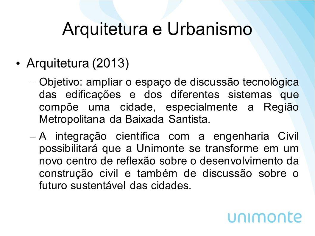 Arquitetura e Urbanismo Arquitetura (2013) – Objetivo: ampliar o espaço de discussão tecnológica das edificações e dos diferentes sistemas que compõe