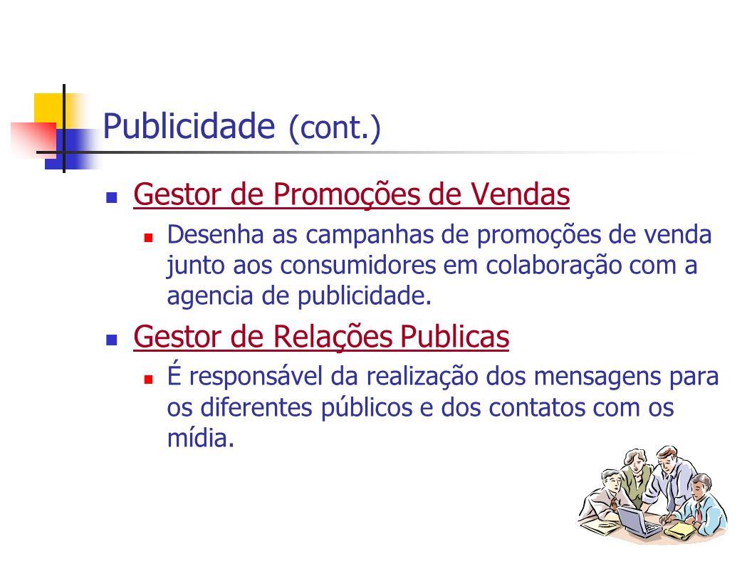 Publicidade (cont.) Gestor de Promoções de Vendas Desenha as campanhas de promoções de venda junto aos consumidores em colaboração com a agencia de pu