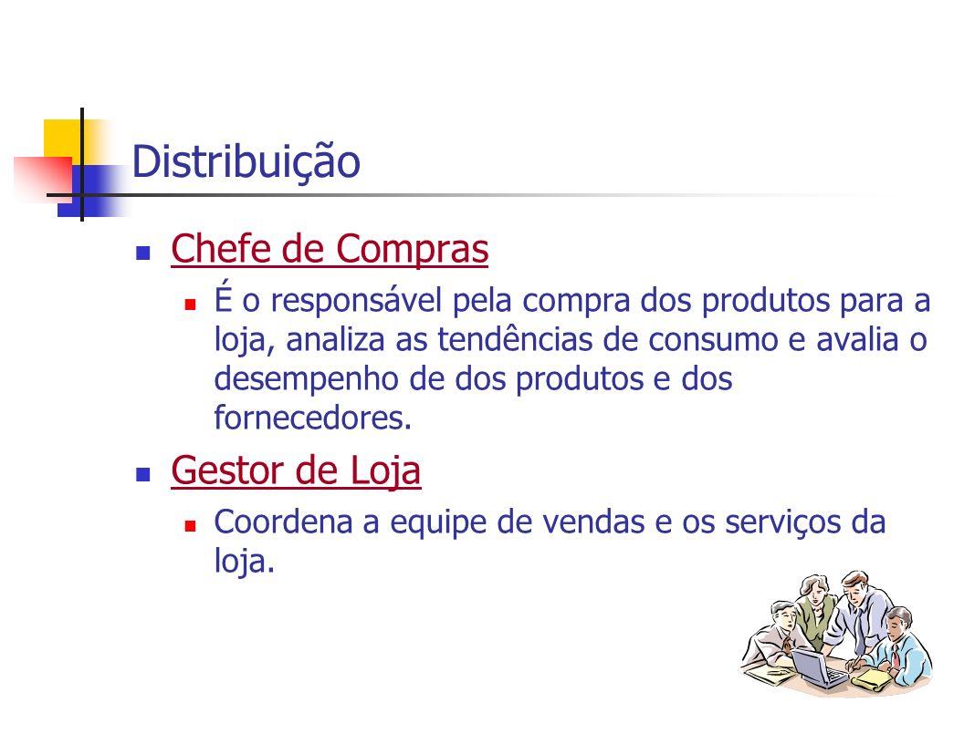 Distribuição Chefe de Compras É o responsável pela compra dos produtos para a loja, analiza as tendências de consumo e avalia o desempenho de dos prod
